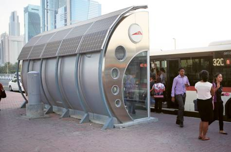 Solar powered bus stops on trial in Dubai